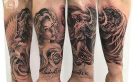 Tatouage ange bras homme